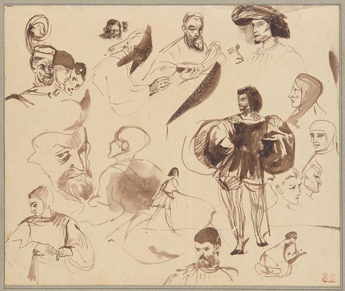 Eugène Delacroix - Studienblatt zu «faust», 1825/1827