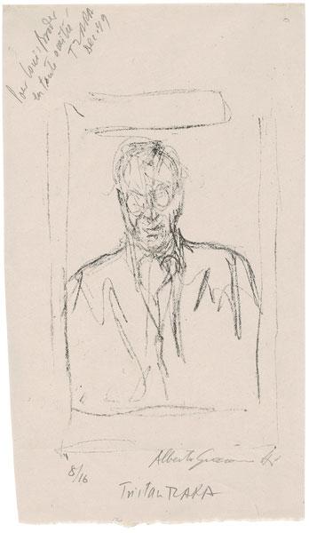 Alberto Giacometti - Porträt von Tristan Tzara, vor 12.1949