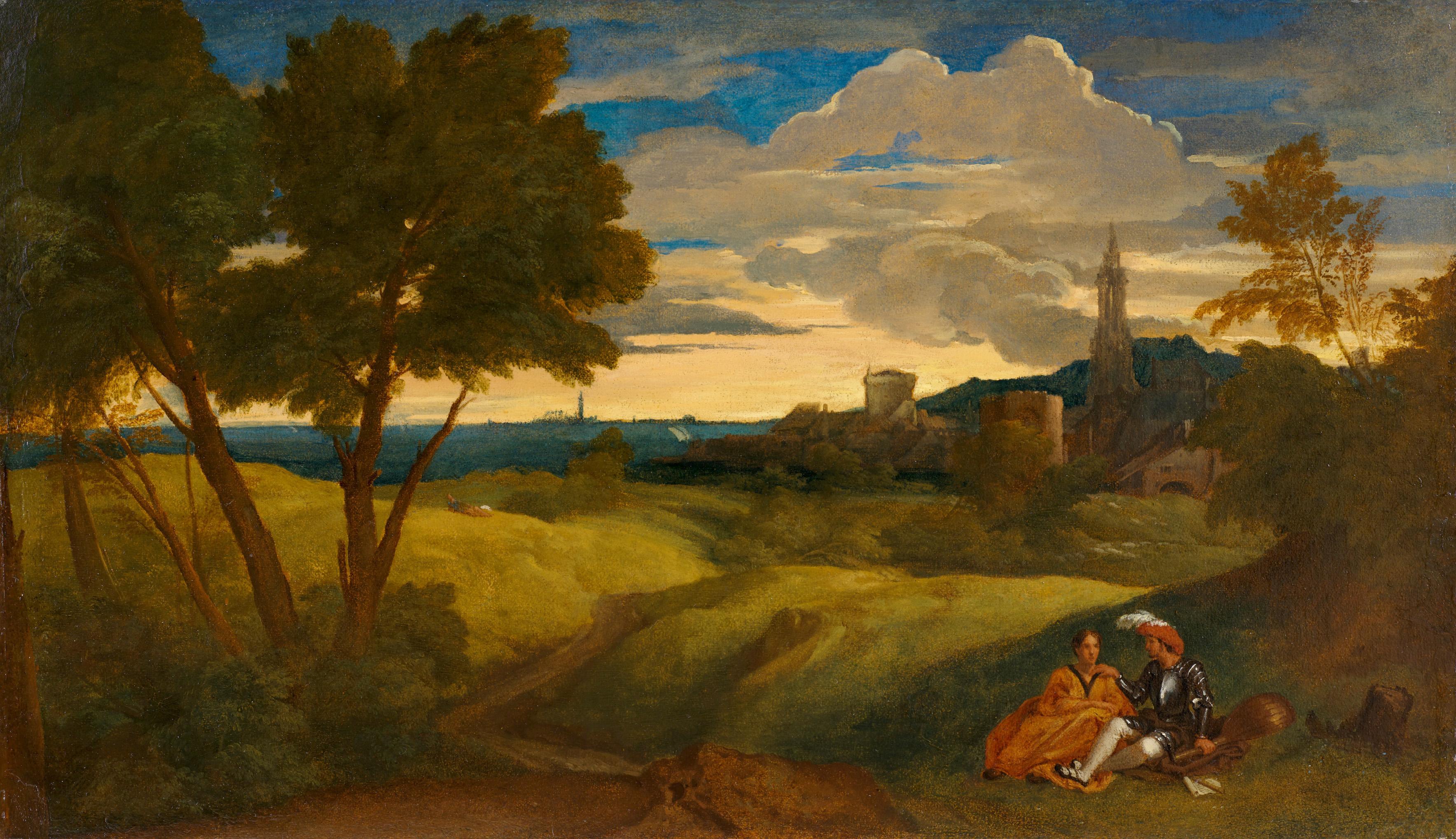 Tiziano Vecellio zugeschrieben - Abendlandschaft mit Figurenpaar, um 1518–1520