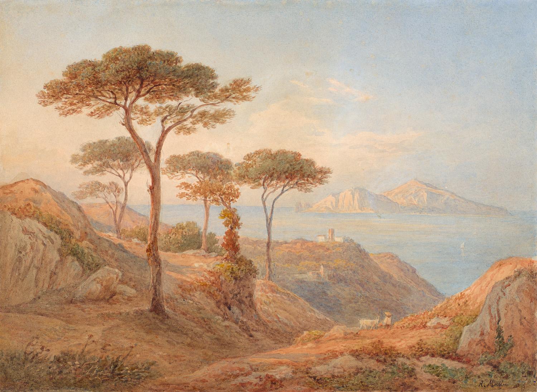 Blick über den Golf von Sorrent auf die Insel Capri, undatiert